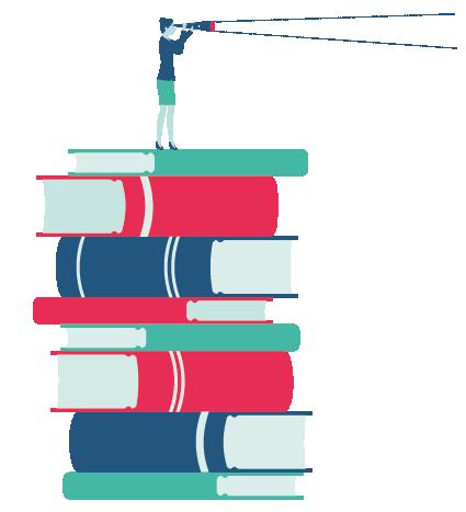 Femme sur des livres